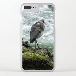Great Blue Heron on the McKenzie, No. 1 Clear iPhone Case