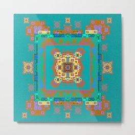 Turquoise Persian Rug Deconstruction Mandala Metal Print