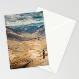 Man front of the mountain Stationery Cards