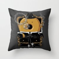 gangster Throw Pillows featuring Gangster Donut by Javier Ramos