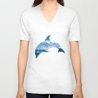 dolphin V-neck T-shirts featuring Dolphin by Inna Trifonova