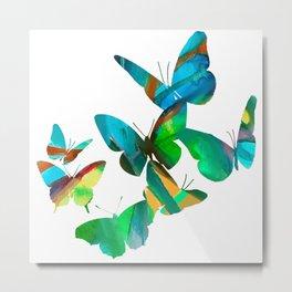 Green Butterflies Metal Print