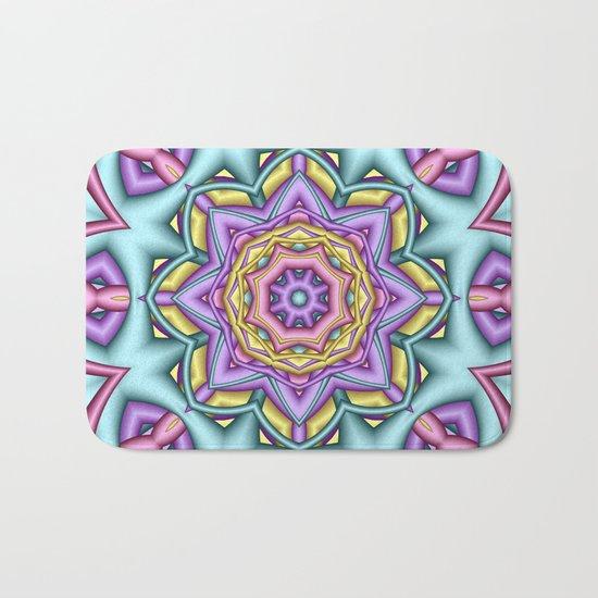 Pastel floral fantasy kaleidoscope Bath Mat