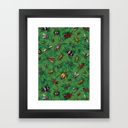 Bugs & Insects on Green Floral Background Framed Art Print