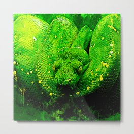 green tree python snake splatter watercolor Metal Print