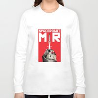 soviet Long Sleeve T-shirts featuring Retro Soviet minimalism space robot by Cardula