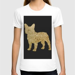 Golden Frenchie on black T-shirt