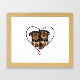 Heart Yorkshire Terrier Puppies Framed Art Print