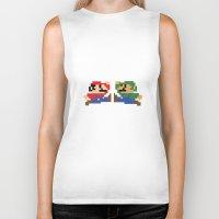 mario Biker Tanks featuring Mario by Megan Twisted