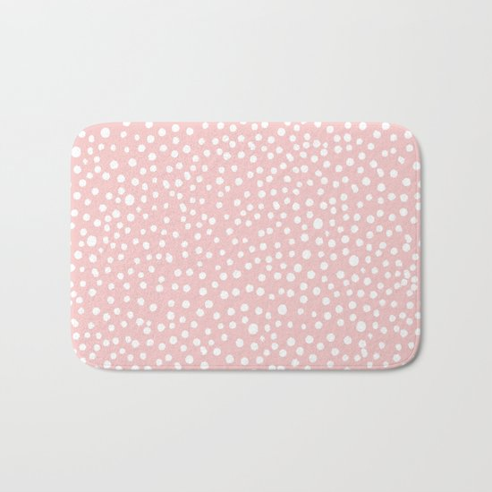 Rosequartz -marble pantone color art print decor minimal pastel pink girly hipster dots dot Bath Mat