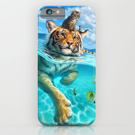 A small swim for a tiger iPhone Case