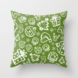 XMAS Green Pattern / Part One Throw Pillow