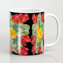 Yellow Roses Red Geraniums Green-Black Patters Coffee Mug