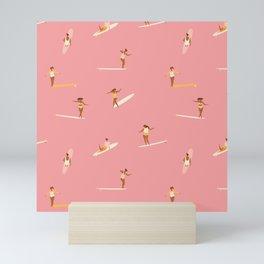 Surf girls in pink Mini Art Print