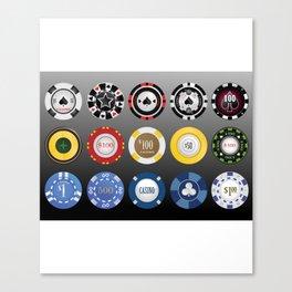 Casino Poker Chips - Nevada Day Canvas Print