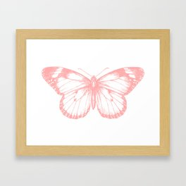 Vintage Pink Butterflly Illustration on Black Background Framed Art Print