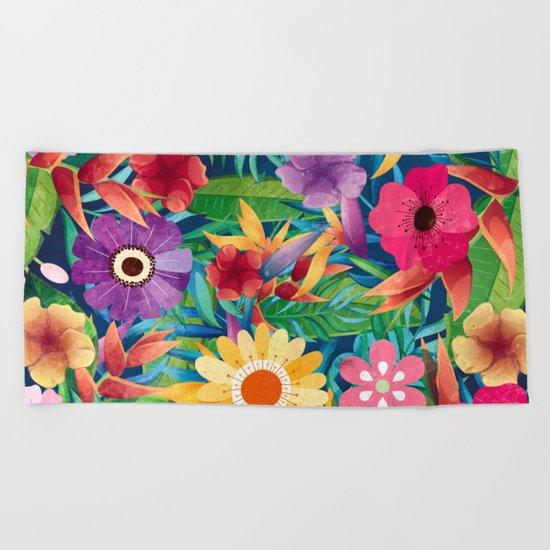 Summer Floral Dreams Beach Towel