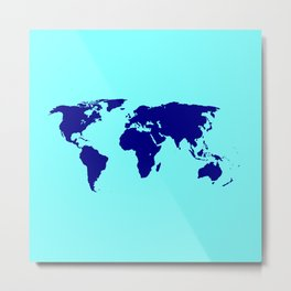 World Silhouette In Blue Metal Print