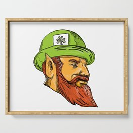 Leprechaun Head Side Drawing Serving Tray