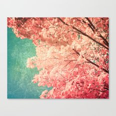 Fall - Autumn - Hot Pink - Colorful - Tree - Textured Canvas Print