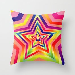 Star Colorful Rainbow Spectrums Throw Pillow