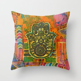 Boho & Batik Hamsa Throw Pillow