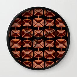 Mid Century Modern Atomic Rings Pattern Black and Orange Wall Clock