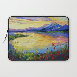 Flowers on the shore of the lake Laptop Sleeve