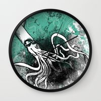squid Wall Clocks featuring Squid by Kat Aviles