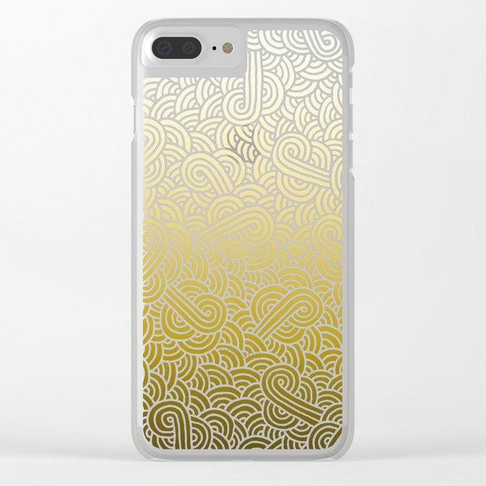 Faded yellow and white swirls doodles Clear iPhone Case