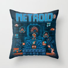 Metroids Throw Pillow