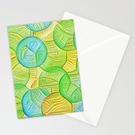 Absract Coins Yellow Green Blue Edit Stationery Cards