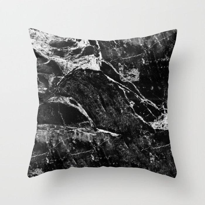 All Black Throw Pillows : Marble Black Throw Pillow by lumenbigott Society6
