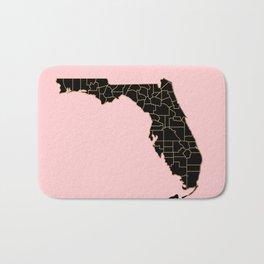 Pink and old Florida map Bath Mat