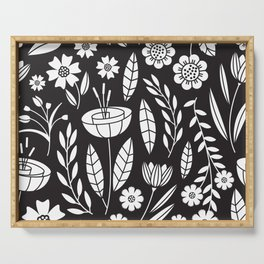 Blooming Field - black Serving Tray
