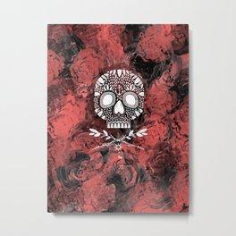 Roses and Skulls Metal Print