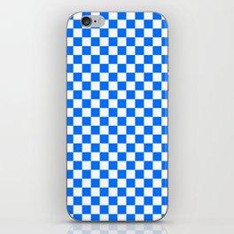 White and Brandeis Blue Checkerboard iPhone Skin