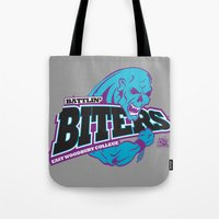 college Tote Bags featuring Woodbury College by SilverBaX