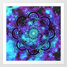 Mandala : Bright Violet & Teal Galaxy 2 Art Print