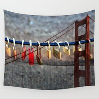 melbourne Wall Tapestries featuring LOVE LOCKED - GOLDEN GATE BRIDGE by Teresa Chipperfield Studios