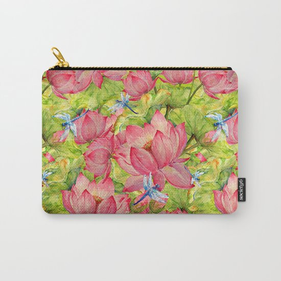 Floral Lotus Flowers Pattern with Dragonfly Carry-All Pouch