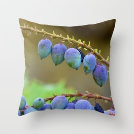 Early spring berries (blue, purple and green) Throw Pillow