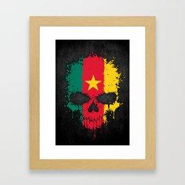 Flag of Cameroon on a Chaotic Splatter Skull Framed Art Print