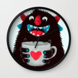 Demon with a cup of coffee (contrast) Wall Clock
