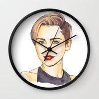 miley Wall Clocks featuring Miley by Kaitlin Polak