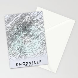 Knoxville, TN, USA, White, City, Map Stationery Cards
