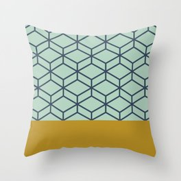 Geometric Honeycomb Lattice Half Pattern in Aqua Mint, Blue, and Golden Mustard Throw Pillow