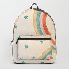 Canyon Desert Rainbow // Sierra Nevada Cactus Mountain Range Whimsical Painted Happy Stars Backpack