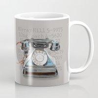 telephone Mugs featuring Vintage Telephone by DesignworksNapa