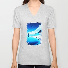 Lighthouse At The Sea Unisex V-Neck